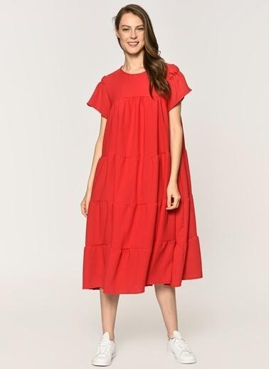 Loves You Katlı A Form Fırfırlı Elbise  Kırmızı